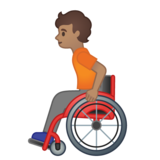 Person in Manual Wheelchair: Medium Skin Tone on Google Android 10.0 March 2020 Feature Drop