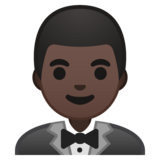 Person in Tuxedo: Dark Skin Tone on Google Android 10.0 March 2020 Feature Drop