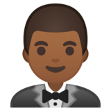 Person in Tuxedo: Medium-Dark Skin Tone on Google Android 10.0 March 2020 Feature Drop