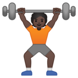 Person Lifting Weights: Dark Skin Tone on Google Android 10.0 March 2020 Feature Drop
