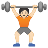 Person Lifting Weights: Light Skin Tone on Google Android 10.0 March 2020 Feature Drop