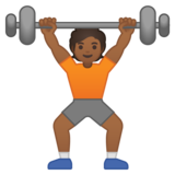 Person Lifting Weights: Medium-Dark Skin Tone on Google Android 10.0 March 2020 Feature Drop