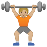 Person Lifting Weights: Medium-Light Skin Tone on Google Android 10.0 March 2020 Feature Drop