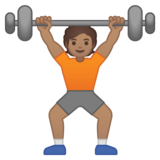 Person Lifting Weights: Medium Skin Tone on Google Android 10.0 March 2020 Feature Drop