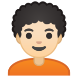 Person: Light Skin Tone, Curly Hair on Google Android 10.0 March 2020 Feature Drop