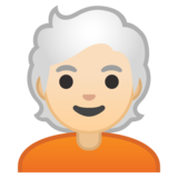 Person: Light Skin Tone, White Hair on Google Android 10.0 March 2020 Feature Drop