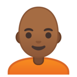 Person: Medium-Dark Skin Tone, Bald on Google Android 10.0 March 2020 Feature Drop