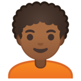 Person: Medium-Dark Skin Tone, Curly Hair on Google Android 10.0 March 2020 Feature Drop
