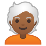 Person: Medium-Dark Skin Tone, White Hair on Google Android 10.0 March 2020 Feature Drop