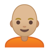 Person: Medium-Light Skin Tone, Bald on Google Android 10.0 March 2020 Feature Drop
