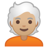 Person: Medium-Light Skin Tone, White Hair on Google Android 10.0 March 2020 Feature Drop