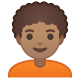 Person: Medium Skin Tone, Curly Hair on Google Android 10.0 March 2020 Feature Drop