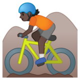 Person Mountain Biking: Dark Skin Tone on Google Android 10.0 March 2020 Feature Drop