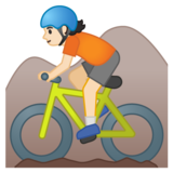 Person Mountain Biking: Light Skin Tone on Google Android 10.0 March 2020 Feature Drop