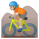 Person Mountain Biking: Medium-Light Skin Tone on Google Android 10.0 March 2020 Feature Drop