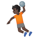 Person Playing Handball: Dark Skin Tone on Google Android 10.0 March 2020 Feature Drop