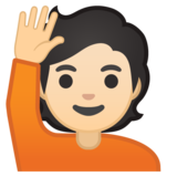 Person Raising Hand: Light Skin Tone on Google Android 10.0 March 2020 Feature Drop