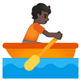 Person Rowing Boat: Dark Skin Tone on Google Android 10.0 March 2020 Feature Drop