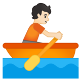 Person Rowing Boat: Light Skin Tone on Google Android 10.0 March 2020 Feature Drop