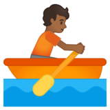 Person Rowing Boat: Medium-Dark Skin Tone on Google Android 10.0 March 2020 Feature Drop