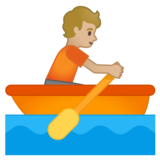 Person Rowing Boat: Medium-Light Skin Tone on Google Android 10.0 March 2020 Feature Drop