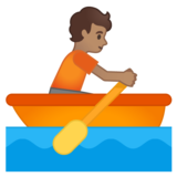 Person Rowing Boat: Medium Skin Tone on Google Android 10.0 March 2020 Feature Drop