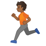Person Running: Medium-Dark Skin Tone on Google Android 10.0 March 2020 Feature Drop