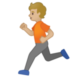 Person Running: Medium-Light Skin Tone on Google Android 10.0 March 2020 Feature Drop