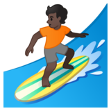 Person Surfing: Dark Skin Tone on Google Android 10.0 March 2020 Feature Drop