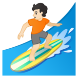 Person Surfing: Light Skin Tone on Google Android 10.0 March 2020 Feature Drop