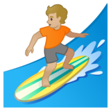 Person Surfing: Medium-Light Skin Tone on Google Android 10.0 March 2020 Feature Drop