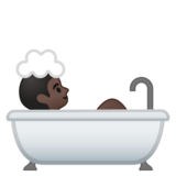 Person Taking Bath: Dark Skin Tone on Google Android 10.0 March 2020 Feature Drop