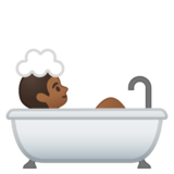 Person Taking Bath: Medium-Dark Skin Tone on Google Android 10.0 March 2020 Feature Drop