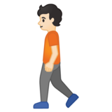 Person Walking: Light Skin Tone on Google Android 10.0 March 2020 Feature Drop