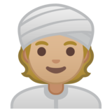 Person Wearing Turban: Medium-Light Skin Tone on Google Android 10.0 March 2020 Feature Drop