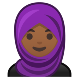 Woman with Headscarf: Medium-Dark Skin Tone on Google Android 10.0 March 2020 Feature Drop