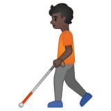 Person with White Cane: Dark Skin Tone on Google Android 10.0 March 2020 Feature Drop
