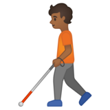 Person with White Cane: Medium-Dark Skin Tone on Google Android 10.0 March 2020 Feature Drop