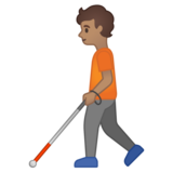 Person with White Cane: Medium Skin Tone on Google Android 10.0 March 2020 Feature Drop