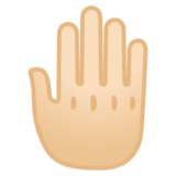 Raised Back of Hand: Light Skin Tone on Google Android 10.0 March 2020 Feature Drop