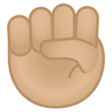 Raised Fist: Medium-Light Skin Tone on Google Android 10.0 March 2020 Feature Drop