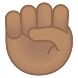 Raised Fist: Medium Skin Tone on Google Android 10.0 March 2020 Feature Drop