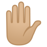 Raised Hand: Medium-Light Skin Tone on Google Android 10.0 March 2020 Feature Drop