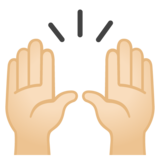Raising Hands: Light Skin Tone on Google Android 10.0 March 2020 Feature Drop