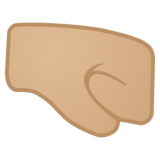 Right-Facing Fist: Medium-Light Skin Tone on Google Android 10.0 March 2020 Feature Drop