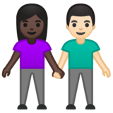 Woman and Man Holding Hands: Dark Skin Tone, Light Skin Tone on Google Android 10.0 March 2020 Feature Drop