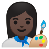 Woman Artist: Dark Skin Tone on Google Android 10.0 March 2020 Feature Drop