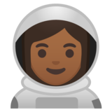 Woman Astronaut: Medium-Dark Skin Tone on Google Android 10.0 March 2020 Feature Drop