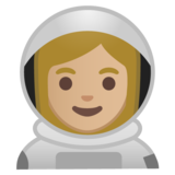 Woman Astronaut: Medium-Light Skin Tone on Google Android 10.0 March 2020 Feature Drop