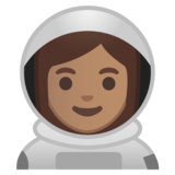 Woman Astronaut: Medium Skin Tone on Google Android 10.0 March 2020 Feature Drop